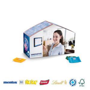 Haus mit Süßigkeiten aus Karton mit individuellem Druck als Werbeartikel.