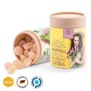 Die Papierdose Eco Maxi ist gefüllt mit Honigbienen Bonbons der Marke nearBees und wird individuell bedruckt als Werbeartikel.