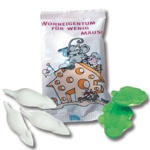 Haribo Maus oder Frosch mit individuellem Druck auf dem Tütchen als Werbeartikel.