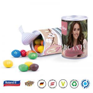 Papierdose mit Logo bedruckt als Werbeartikel und gefüllt mit Süßigkeiten.