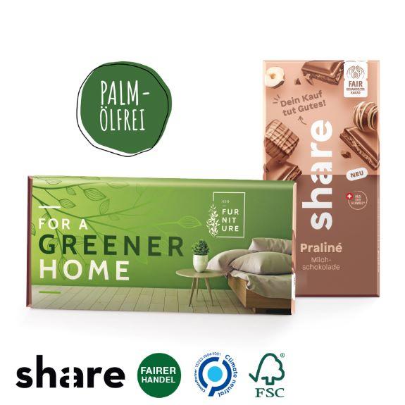 share Schokolade in der Originalverpackung mit Werbebanderole individuell bedruckt als Werbeartikel.