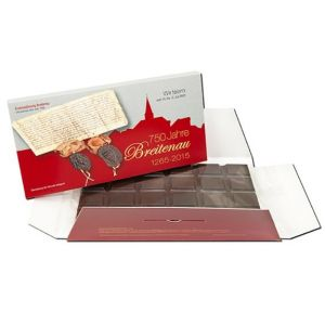 Tafel Schokolade in Werbebox individuell bedruckt als Werbeartikel in kleiner Menge.