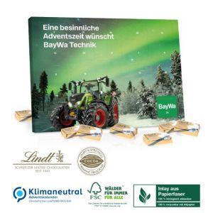 Tisch Adventskalender aus Papier, gefüllt mit Lindt Schokolade und individuell bedruckt als Werbeartikel.