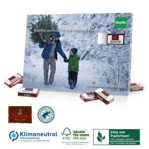 Sarotti Tisch Adventskalender mit Sarotti Schokolade und komplett aus Papier mit individuellem Druck als Werbeartikel.