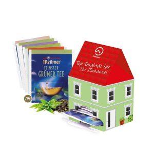 10 Meßmer Teebeutel in einem Teehaus aus Karton mit individuellem Druck.