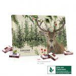 Tisch Adventskalender aus Graspapier mit Sarotti Fairtrade Schokolade und individuellem Druck als Werbeartikel.