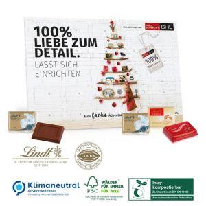 Tisch Adventskalender mit exklusiver Lindt Füllung und individuellem Druck als Werbeartikel.